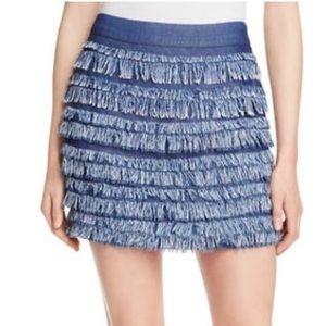 Ella Moss Womens Mini Skirt Tiered Fringe Small